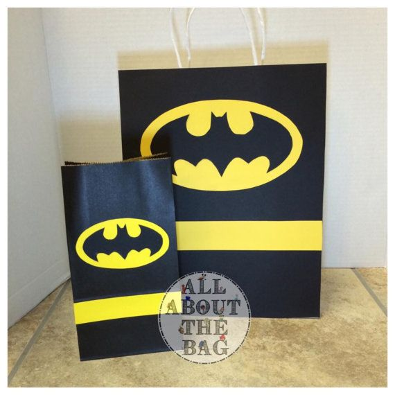 Batman Gift Bag And Favor Bags Set By Allaboutthebagnola On Etsy Birthday Third