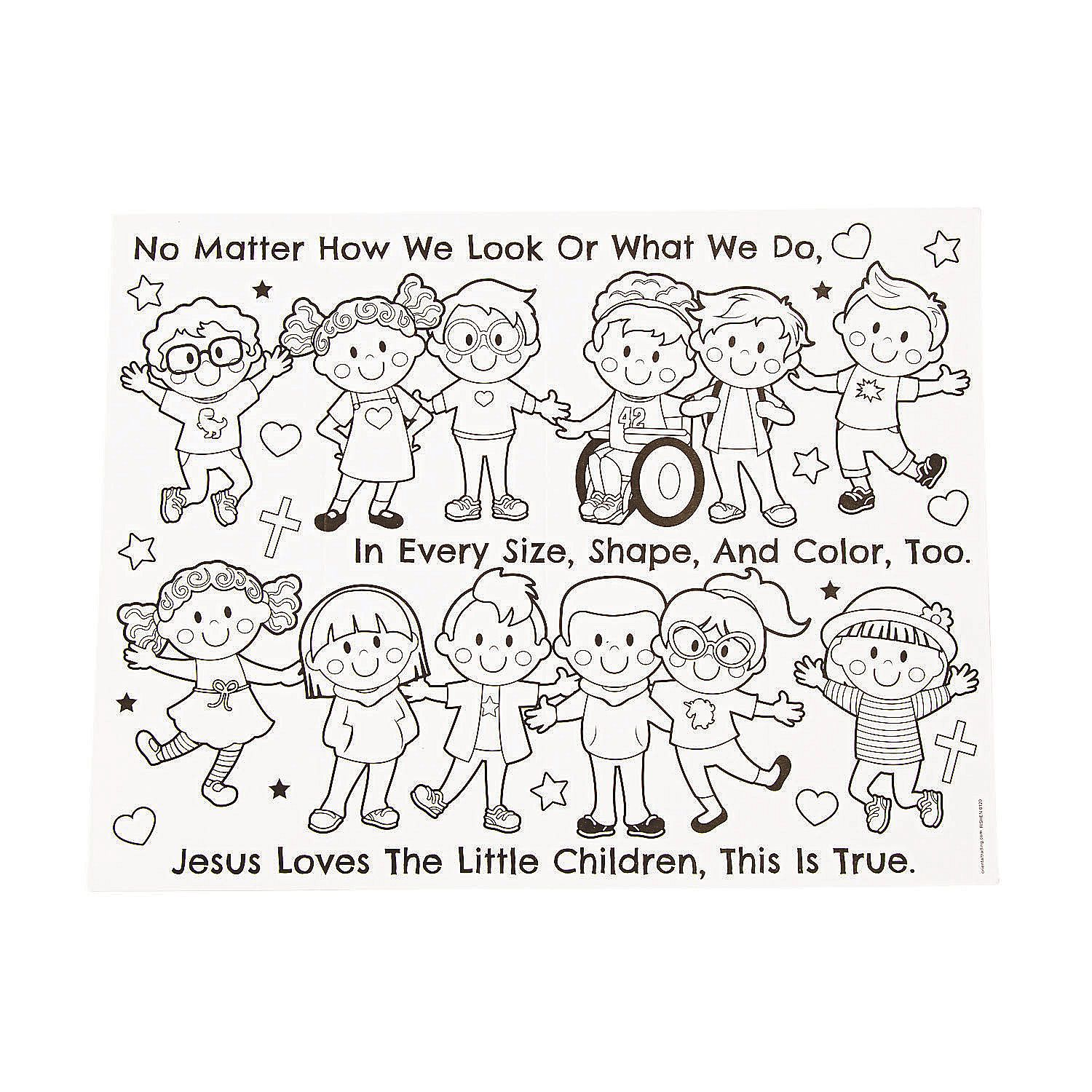 Color Your Own Jesus Loves The Children Accordion Cards Oriental Trading Sunday School Coloring Pages Christian Coloring Jesus Coloring Pages