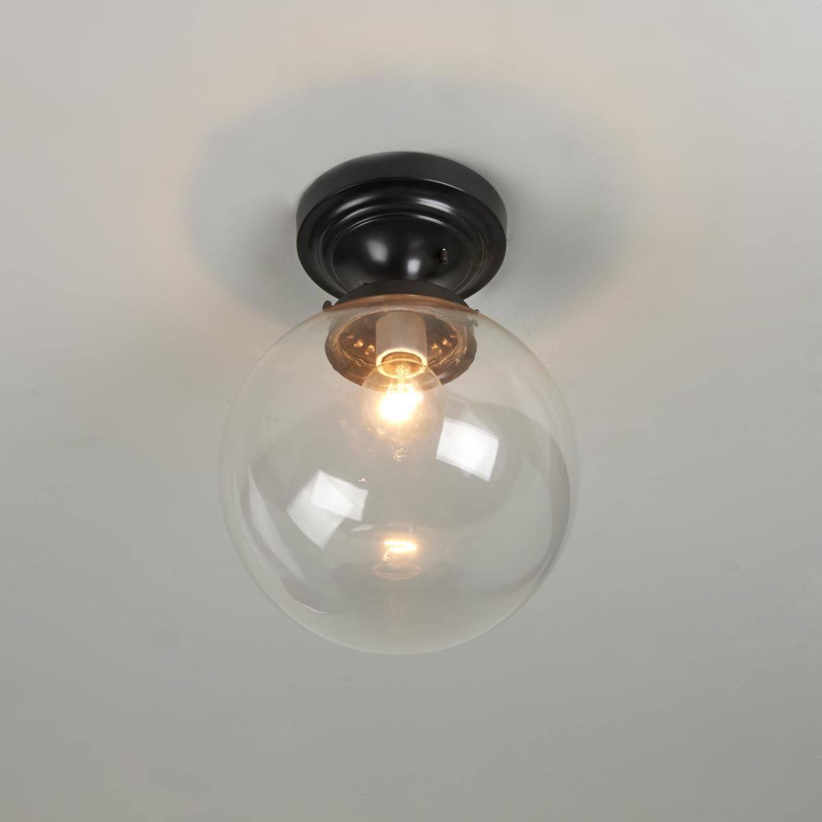 Glass Globe Ceiling Light Clear or White Glass Globe ceiling
