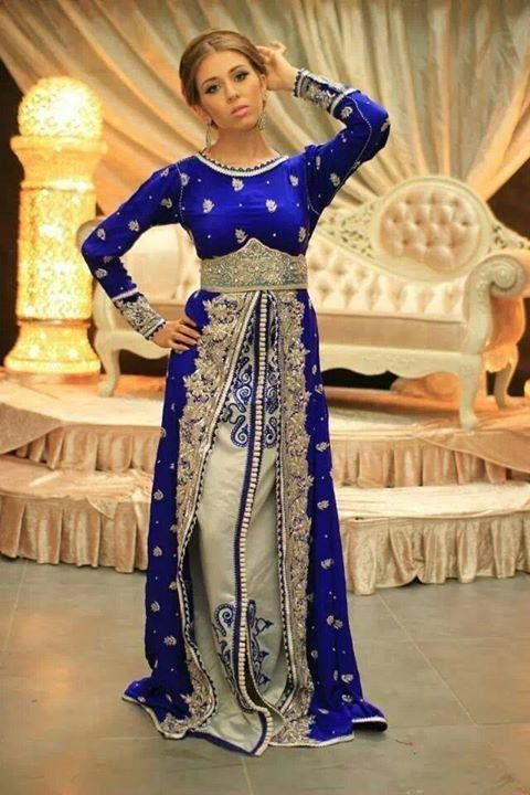Robe de mariee marocaine bleu