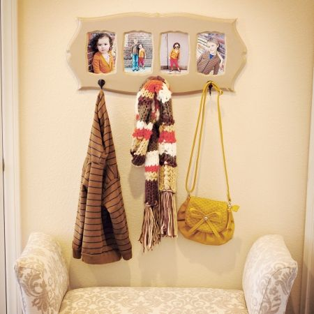 Coat Rack With 4 Pics And 4 Hooks Craft Ideas Pinterest Coat