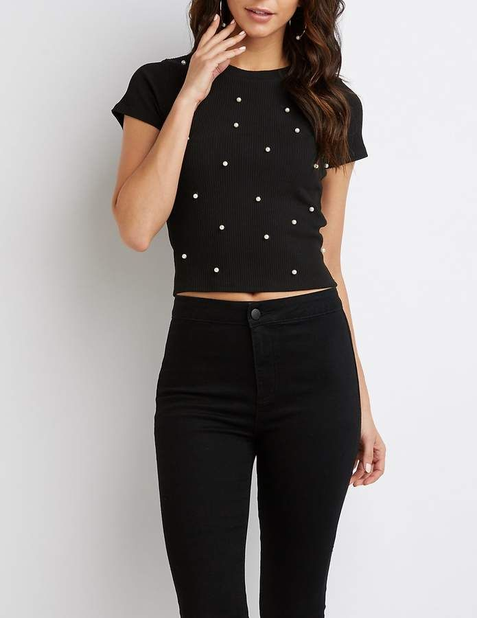 Russeaffiliate Ribbed Faux Pearl Embellished Link Top Charlotte rdCxeBo