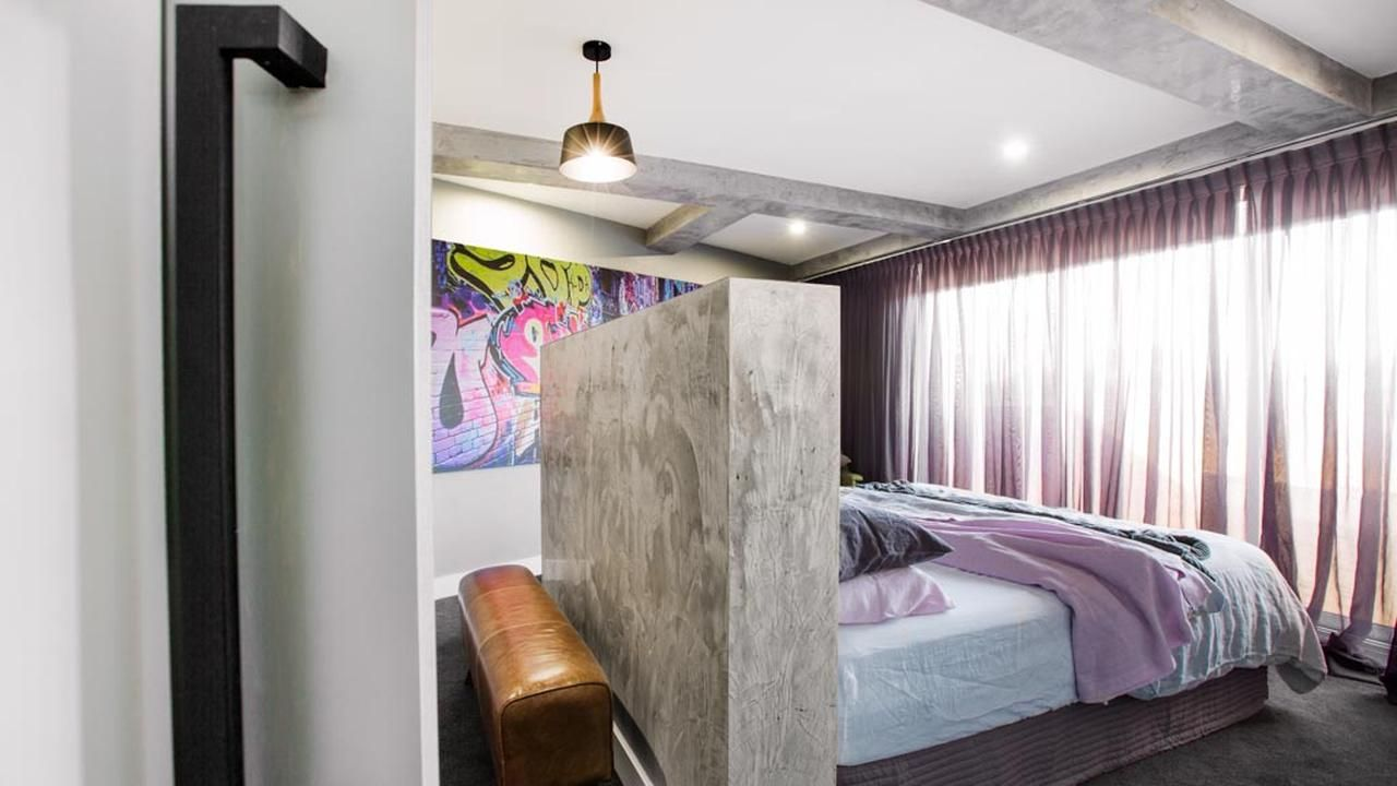 luxury bedroom furniture purple elements. Room With Concrete Rendered Bed Head, Graffiti Artwork And Black Hardware. It\u0027s Just The Right Mix Of Industrial Scandinavian Modern Elements! Luxury Bedroom Furniture Purple Elements