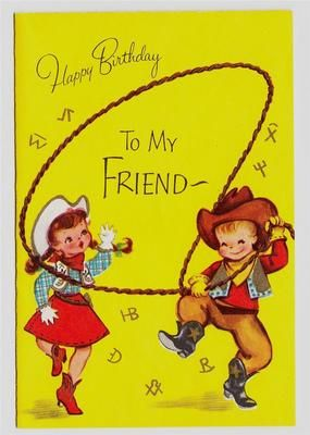 Happy Birthday Greetings Vintage Little Cowgirl And Boy