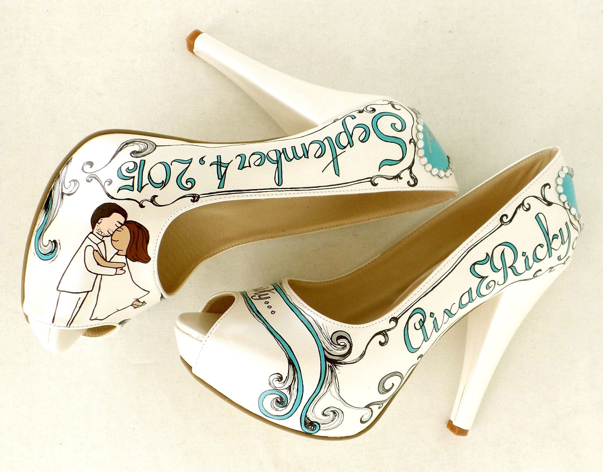 Custom Wedding Shoes, Hand Painted Bridal Shoes, Teal Silver