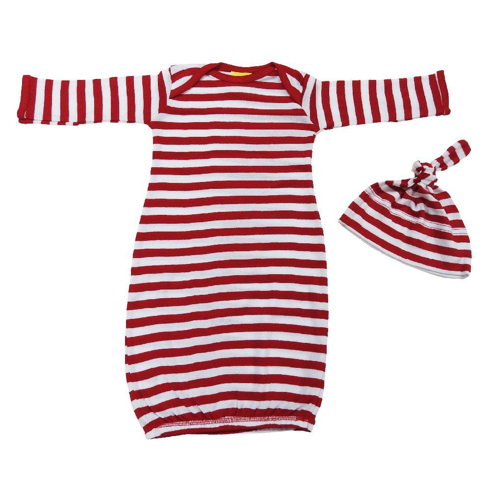 3-Pack Layette Infant Gown & Knotted Cap Hat Set - Wholesale Baby ...