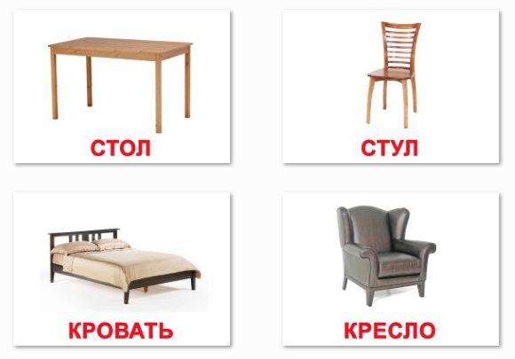 Картинки мебель с названием для детей, карточки по ...