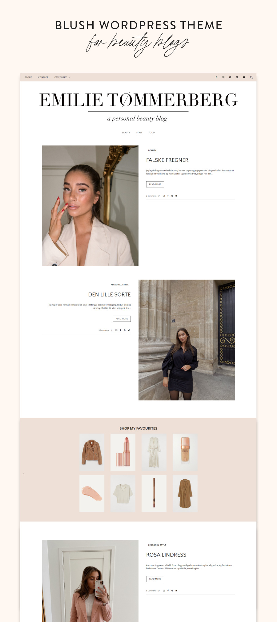 Blush Co. WordPress Theme for Lifestyle, Beauty & Travel Bloggers | My Boutique Themes