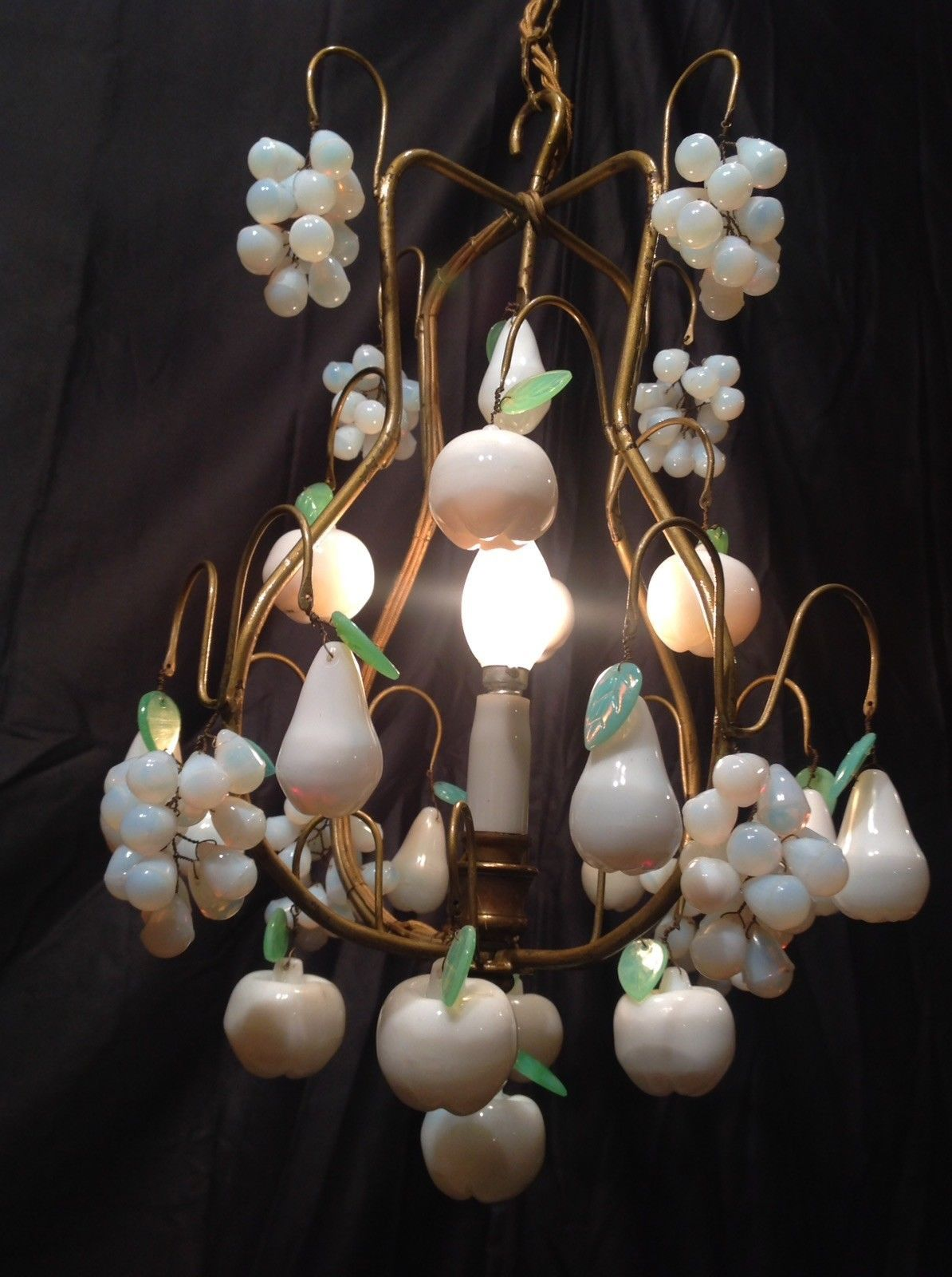 1930 rare wonderful french white and green opaline opalescent drop 1930 rare wonderful french white and green opaline opalescent drop chandelier aloadofball Gallery