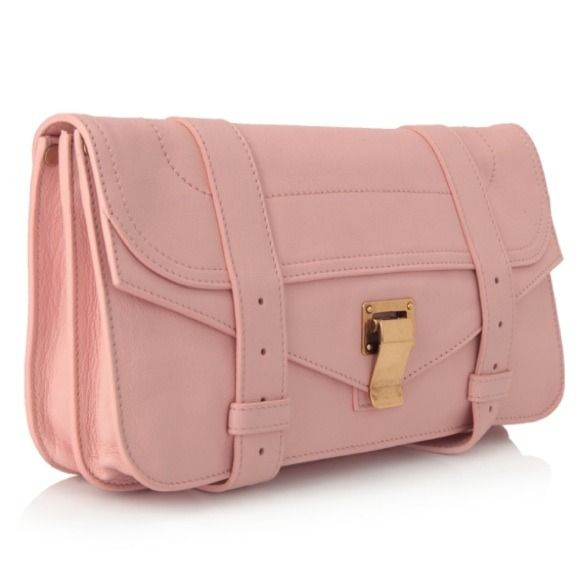 Proenza Schouler PS1 Pochette Piglet Pink Gorgeous clutch never been used! Front flap with metal ran and leather strap closures. 100% calfskin and cotton canvas lining! Perfect for a night out Proenza Schouler Bags