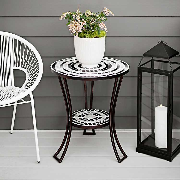 Black And White Mosaic Outdoor Side Table Kirklands In 2020 Small Outdoor Table Mosaic Outdoor Table Mosaic Patio Table