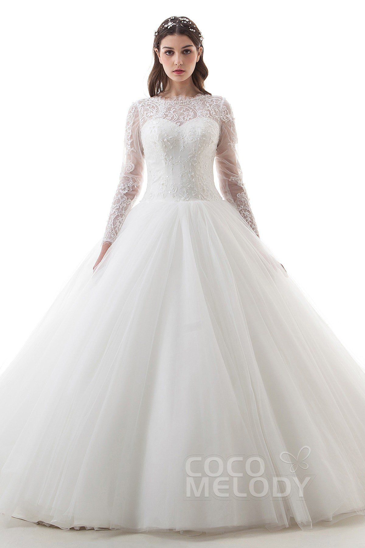 Ball gown wedding dress with sleeves  Latest Ball Gown Illusion Natural Cathedral Train Lace and Tulle