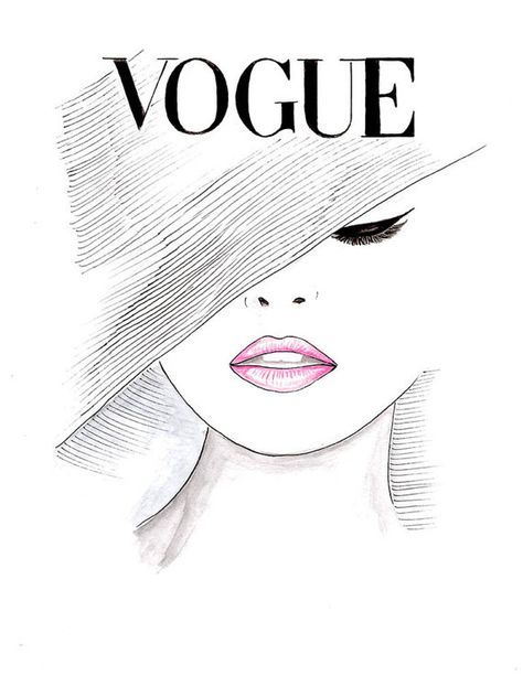 Photo of Print Watercolor Pink Lips 1950's Vogue Poster, Fashion Illustration Vogue Face Cover Hand Drawn, Black and White Fashion Poster by Zoia