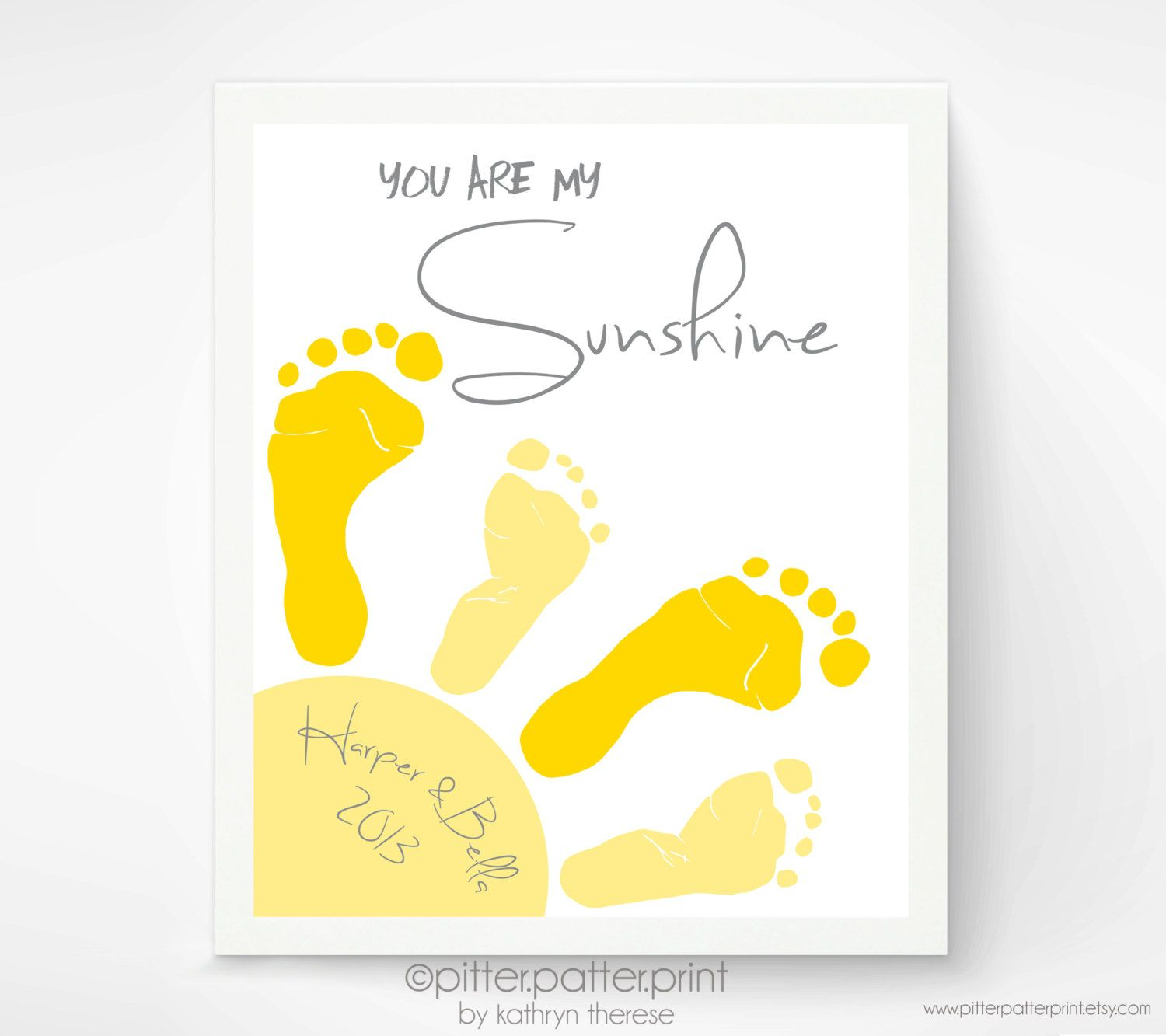 Sibling Sun Art Print, You are my Sunshine Footprints for Twins ...