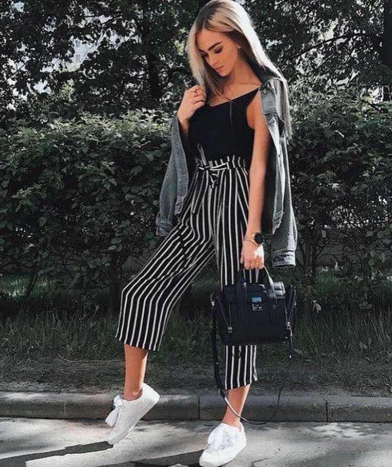 37+ Outfits con Pantalón Palazzo Corto para lucir Elegante (2019 ... f35bf9f772