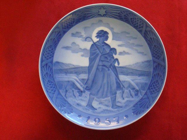 1957 royal copenhagen rc christmas plate   good shepherd   & 1957 royal copenhagen rc christmas plate