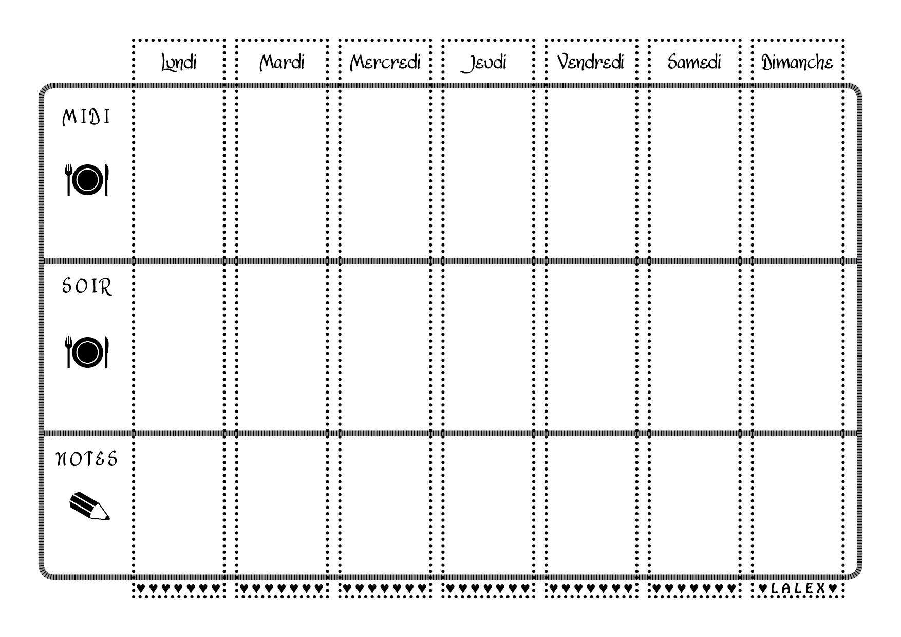 Tableau De Planification Des Repas De La Semaine A Imprimer En Noir Et Blanc Avec Images Planning Vierge Menu Semaine