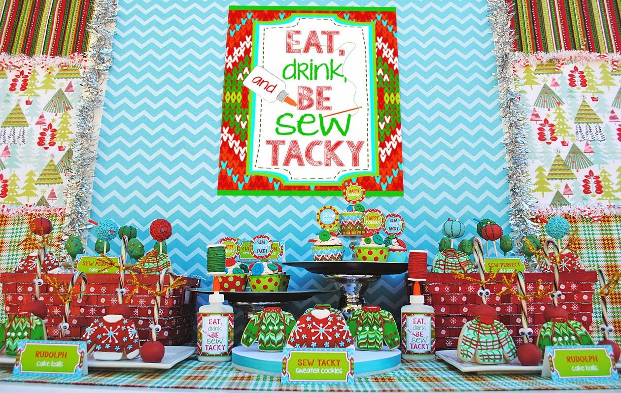Lets Be Sew Tacky Party Ugly Christmas Sweater Party Ideas