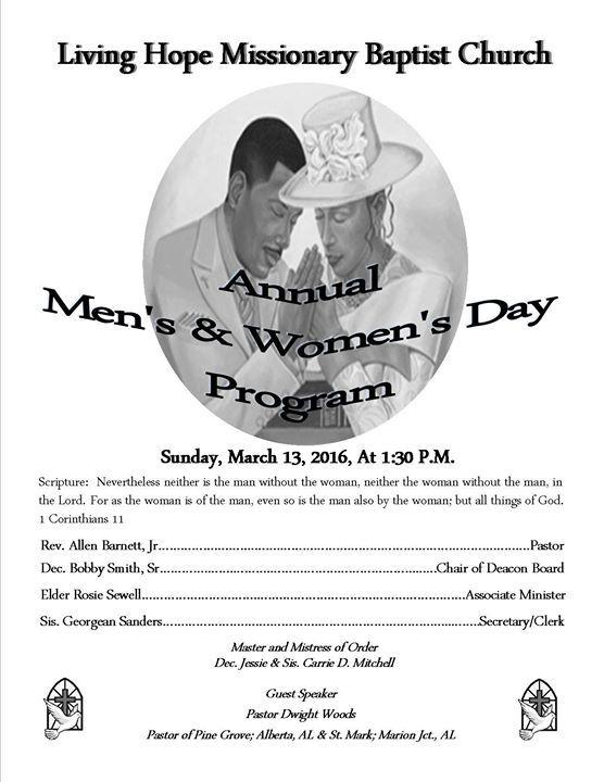 Annual Mens And Womens Day Program Men Women Men S Day