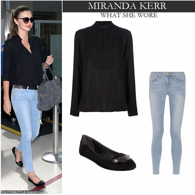 Miranda Kerr in black top, light blue skinny jeans and black ...