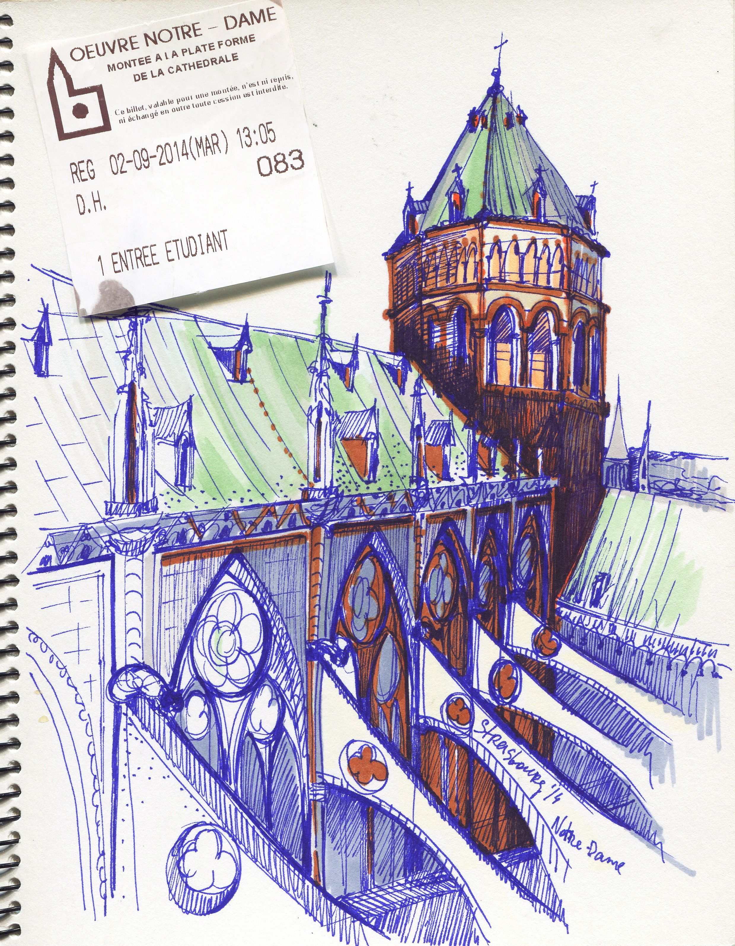 Sketch in Strasbourg, France. 2014 #sketchbook, #copicmarkers, #promarkers #illustration #sketch #sketchbook #graphic #promarker #copicmarker #france #strasbourg  #notredame by Olga Uva