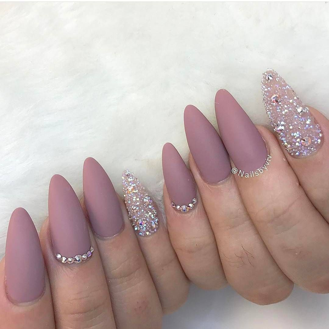Pixie Crystal Nails Bling Acrillic Pink