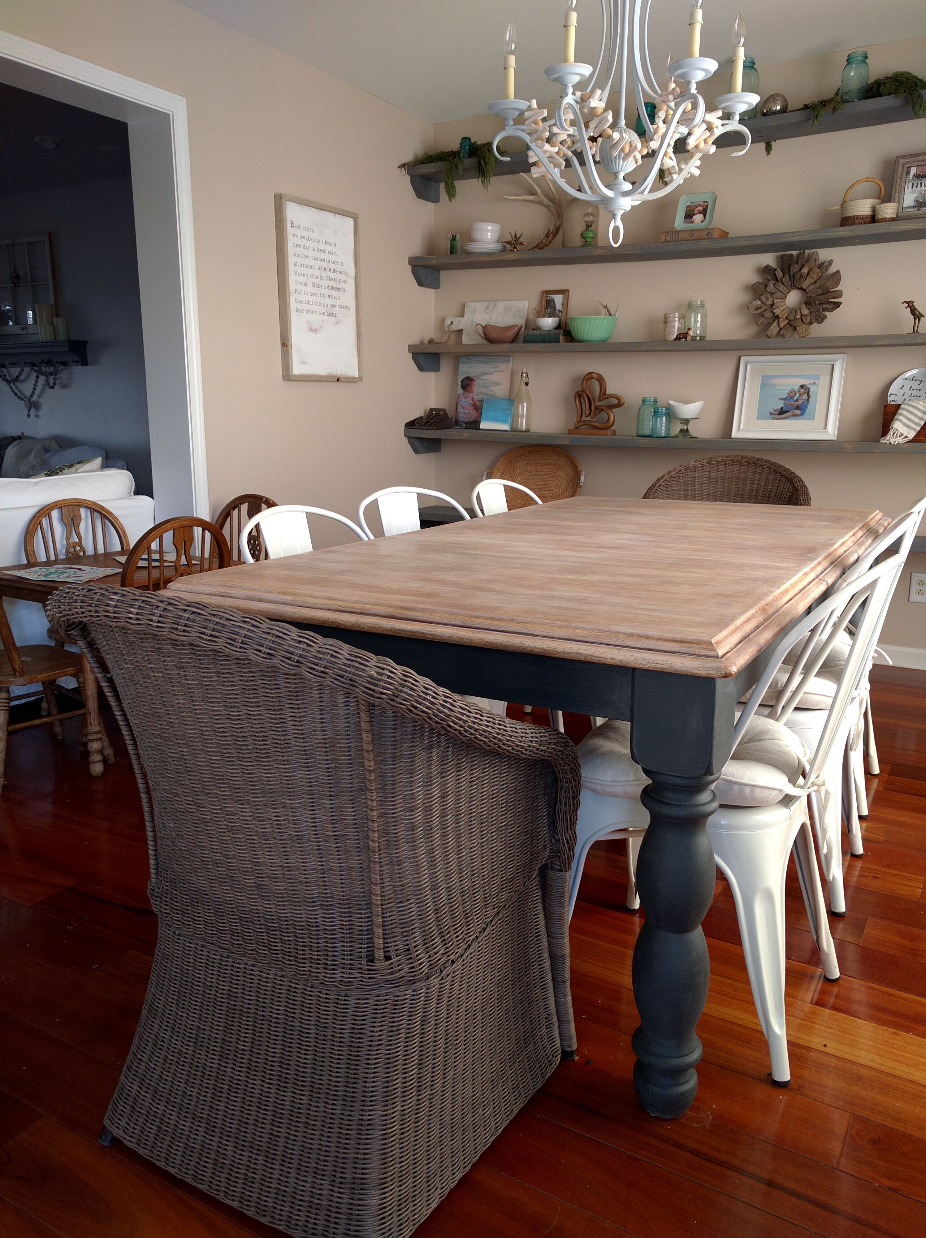 Limewashed Table Makeover Dining Table Makeover Dining Room Table Makeover Shabby Chic Kitchen