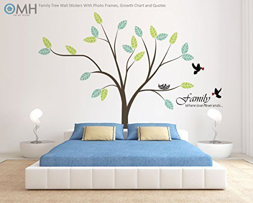 Family Tree Wall Decor Stickers w/ Photo Frame Kids Growth Chart ...