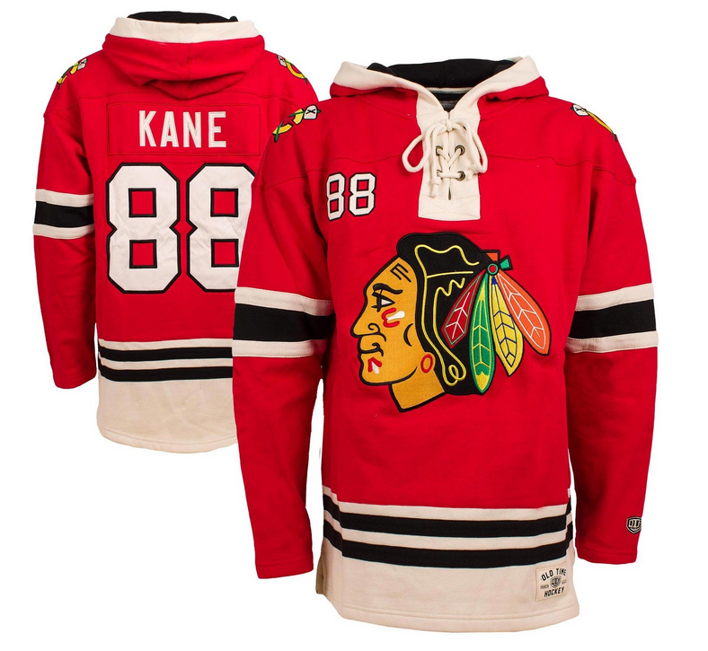 d8c865f17 Men s Chicago Blackhawks Patrick Kane Old Time Hockey Red Lacer Heavyweight  Pullover Hoodie