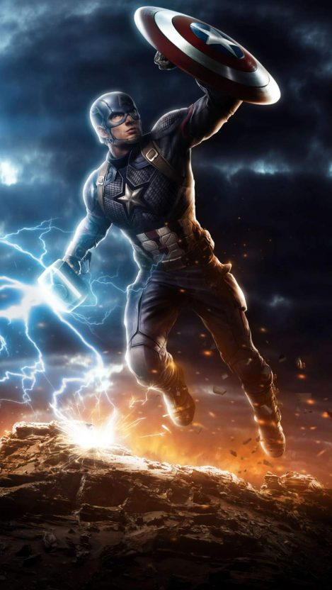 Captain America Lifts Mjolnir Avengers Endgame Iphone Wallpaper Free Getintopik Captain America Art Marvel Comics Superheroes Marvel Captain America