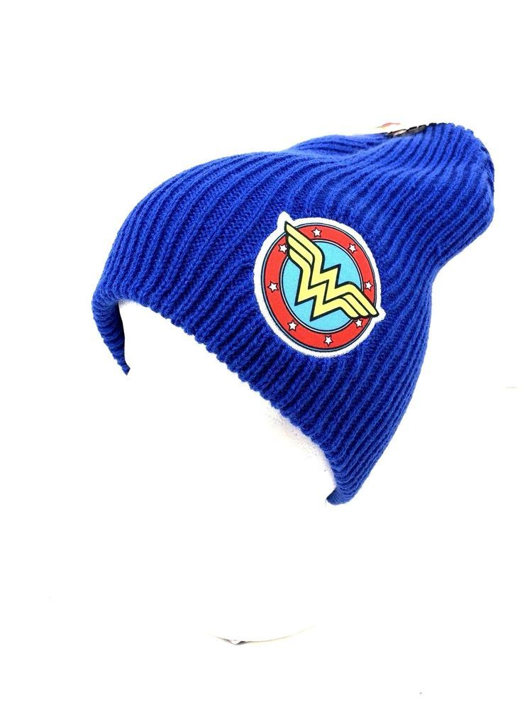 DC Comics Wonder Woman Knitted Winter Beanie Hat Cap Blue stocking hat