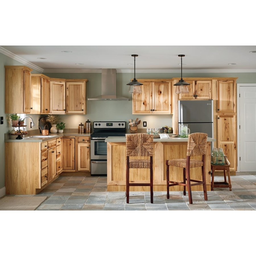 Diamond Now Denver 36 In W X 30 In H X 12 In D Natural Door Wall Stock Cabinet Lowes Com Stock Cabinets Hickory Kitchen Cabinets Hickory Kitchen