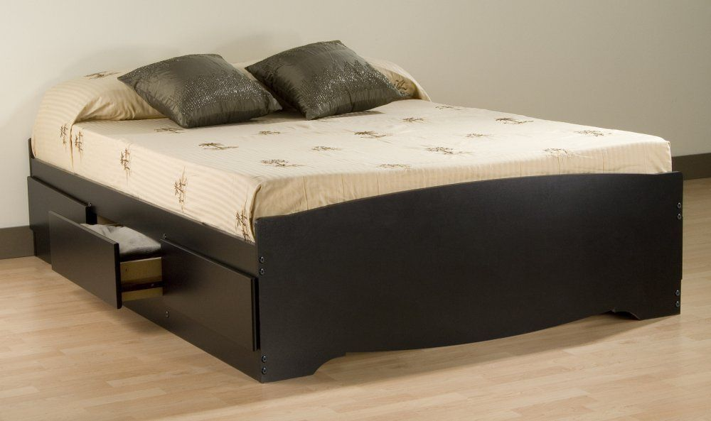 Amazon.com: Prepac Sonoma Black Queen Platform Storage Bed with 6 ...
