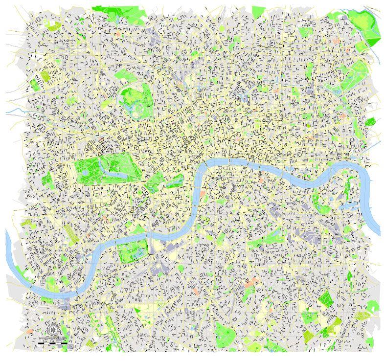 London Center Map.London Center Map England Uk Printable Vector Map Adobe