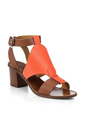 Ralph Lauren Collection Paola Block-Heel Leather Sandals