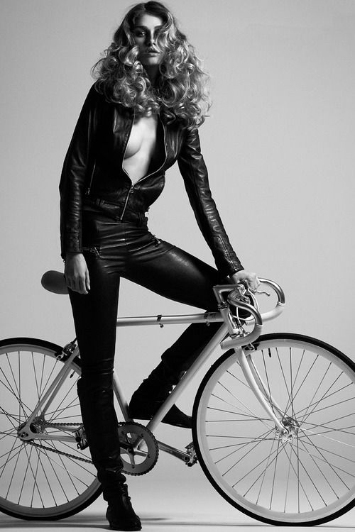 #chick #cycle #leather #sexy #bike #curly