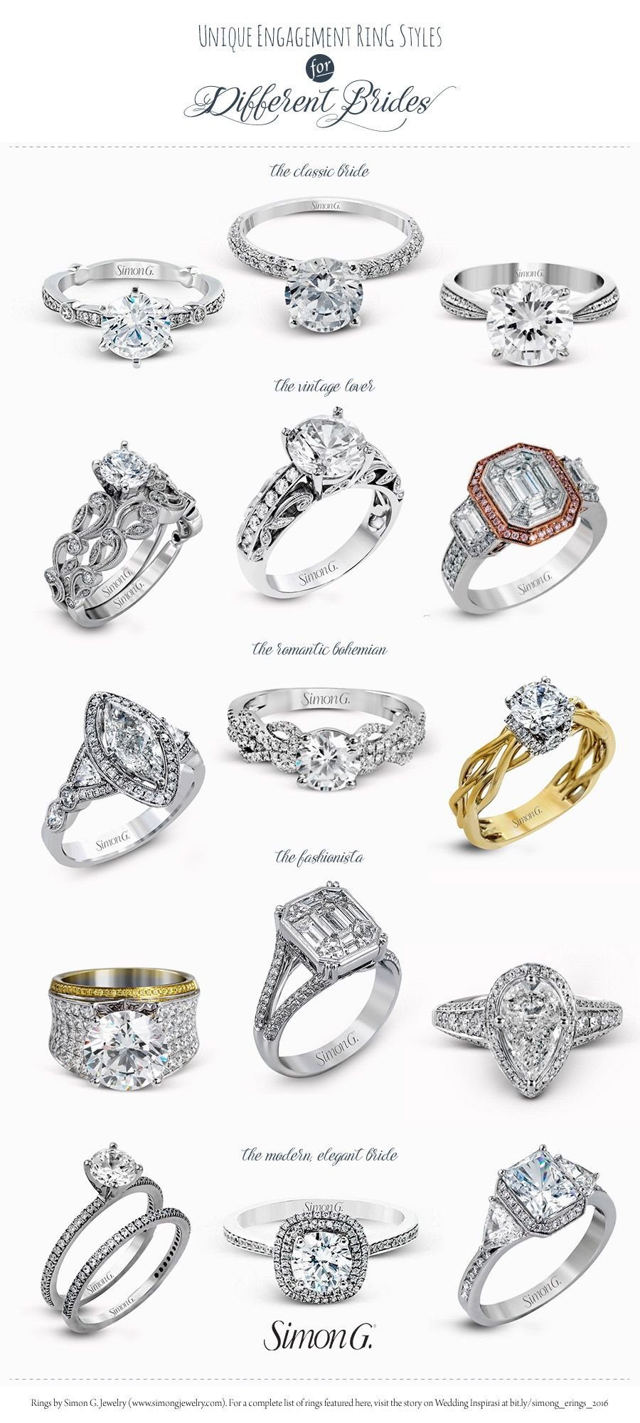 Simon g engagement ring styles for every bride bridal for Types of body jewelry rings