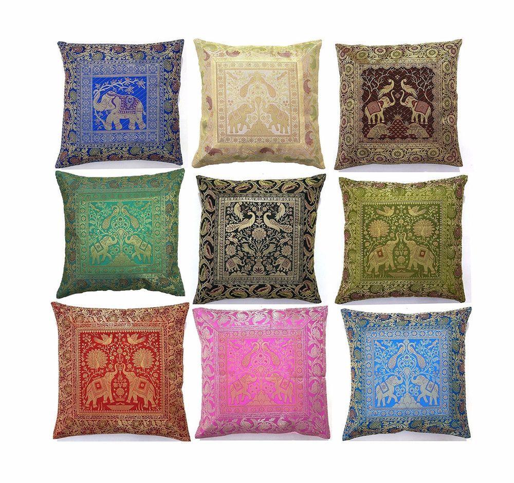 Brocade Home Decor Decoration 5 pc square brocade silk home decor cushion cover handmade banarsi