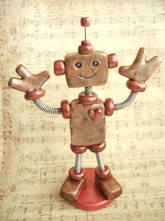Robot Birthday Cake Topper - Rustic Red Ruby - Polymer Clay, Paint ...