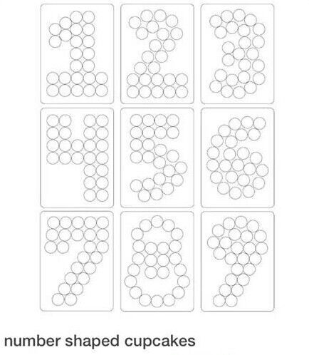 Numbers cupcakes template one two three four five for Number 9 cake template