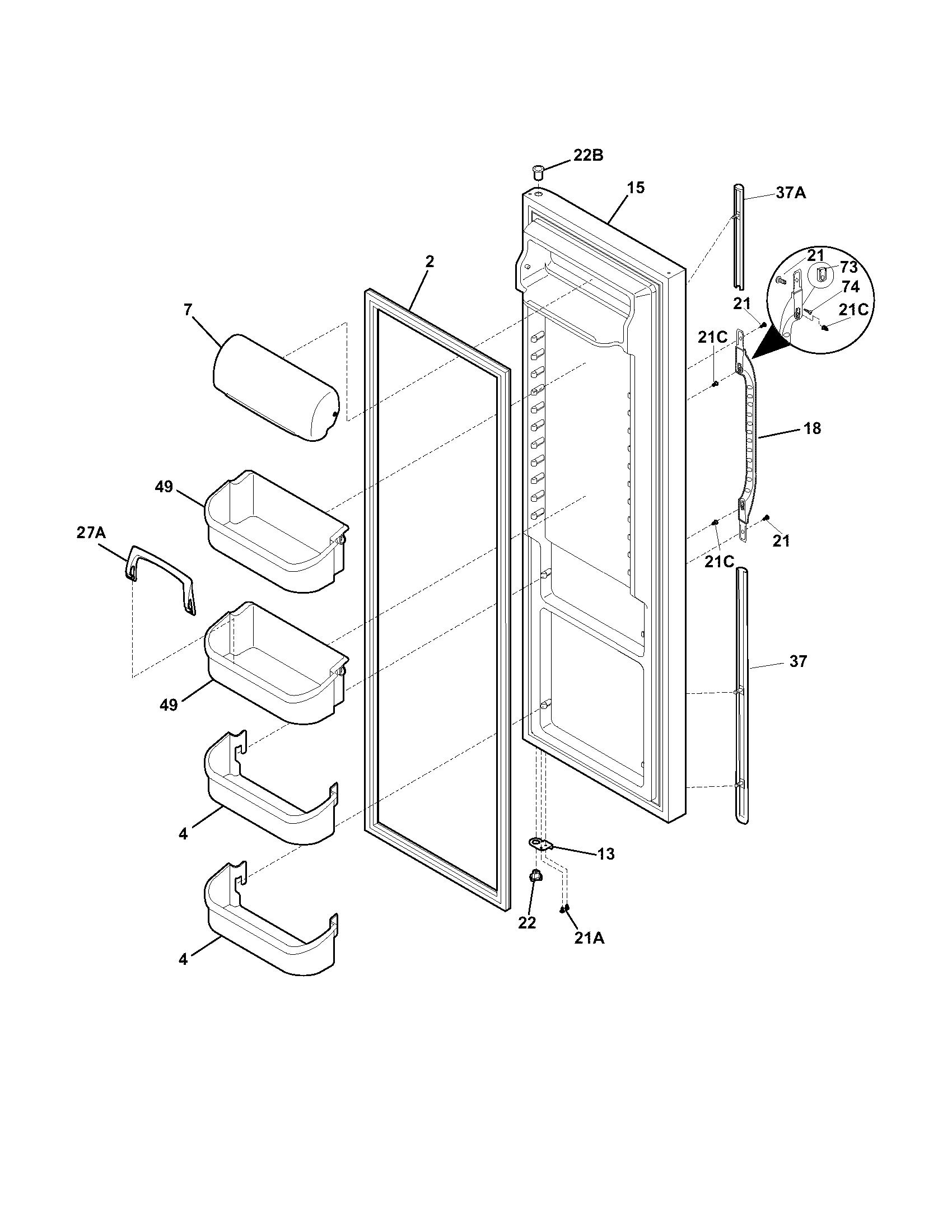 Refrigerator Door Diagram Parts List For Model 25356522400