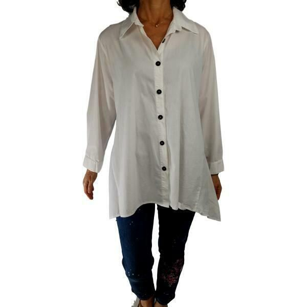 e06fb5c6 IC COLLECTION CONNIE K XL moonlight white button down swing hem tunic  blouse top #ICCollection