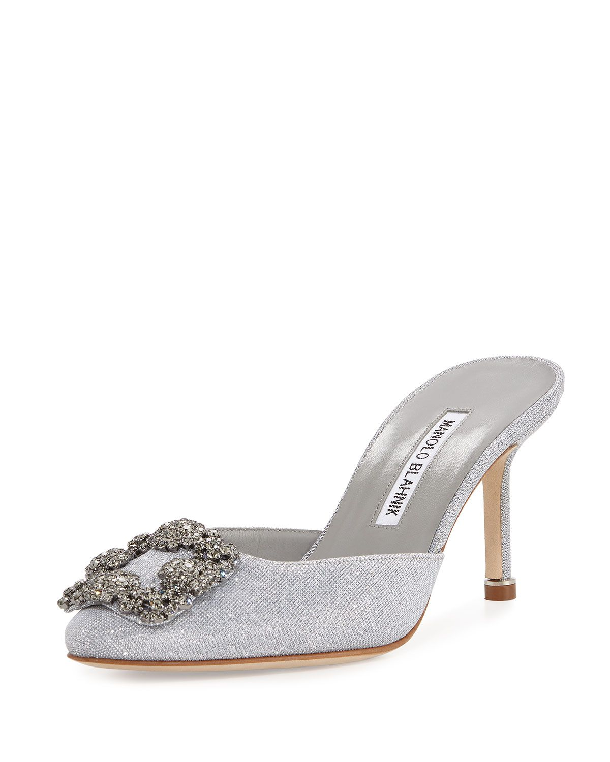 1ecd5179c2 Hangisi Glittered Mule Pump Silver | shoes Manolo Blahnik | Manolo ...