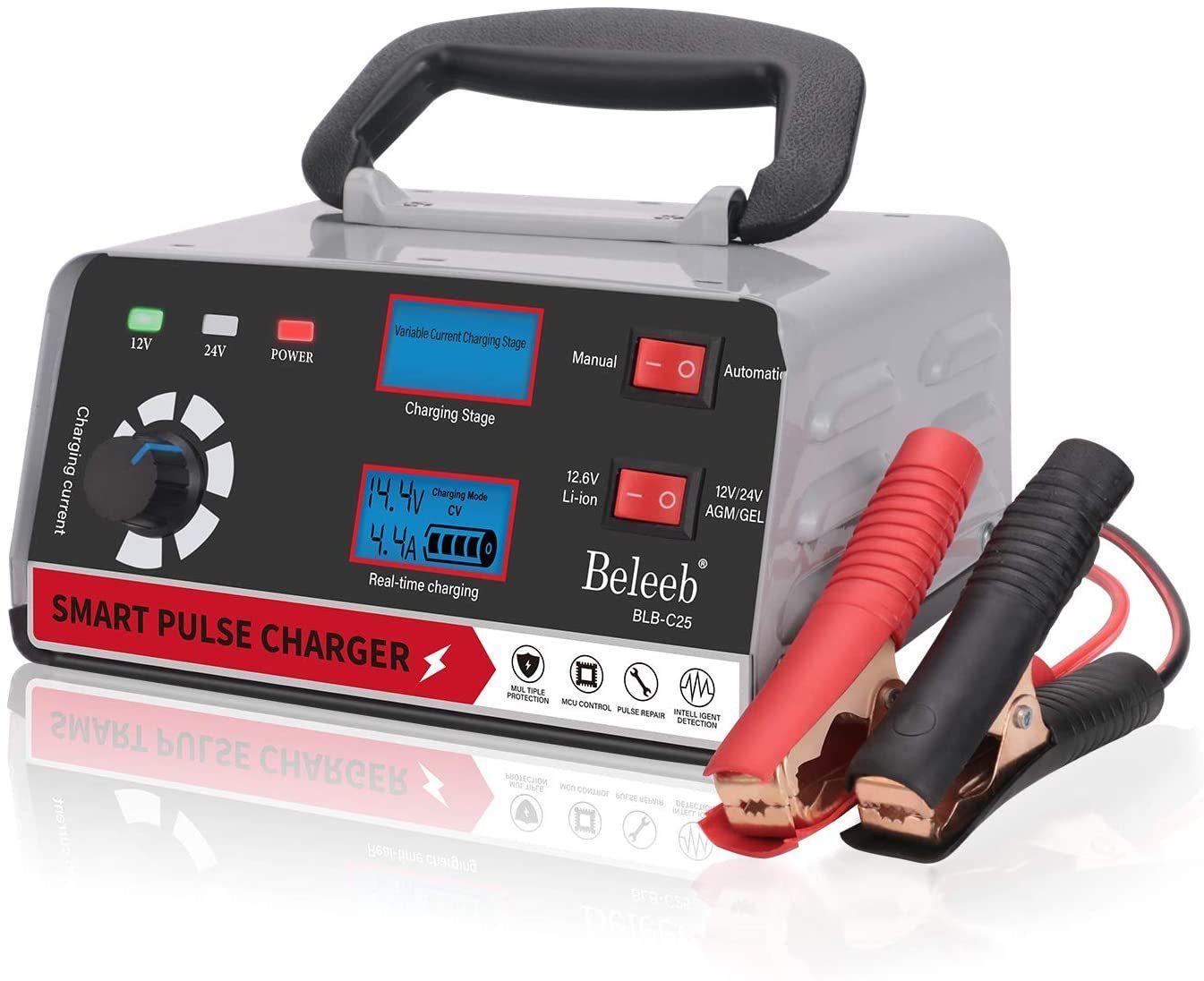 Beleeb Battery Charger Automotive 12v 24v Voltage Adjustable Trickle Charger Maintainer 2 200ah