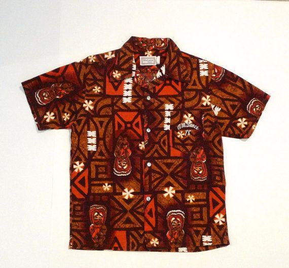 1960s Maluna Hawaii Tiki Tribal Button Down Vintage Hawaiian Shirt vZ9GtWTwB