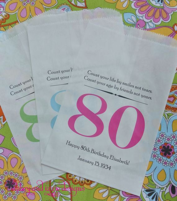 80th Birthday Favor Bags By Abbey And Izzie Designs On Etsy 80thbirthday Birthdayfavors Candybuffetbags