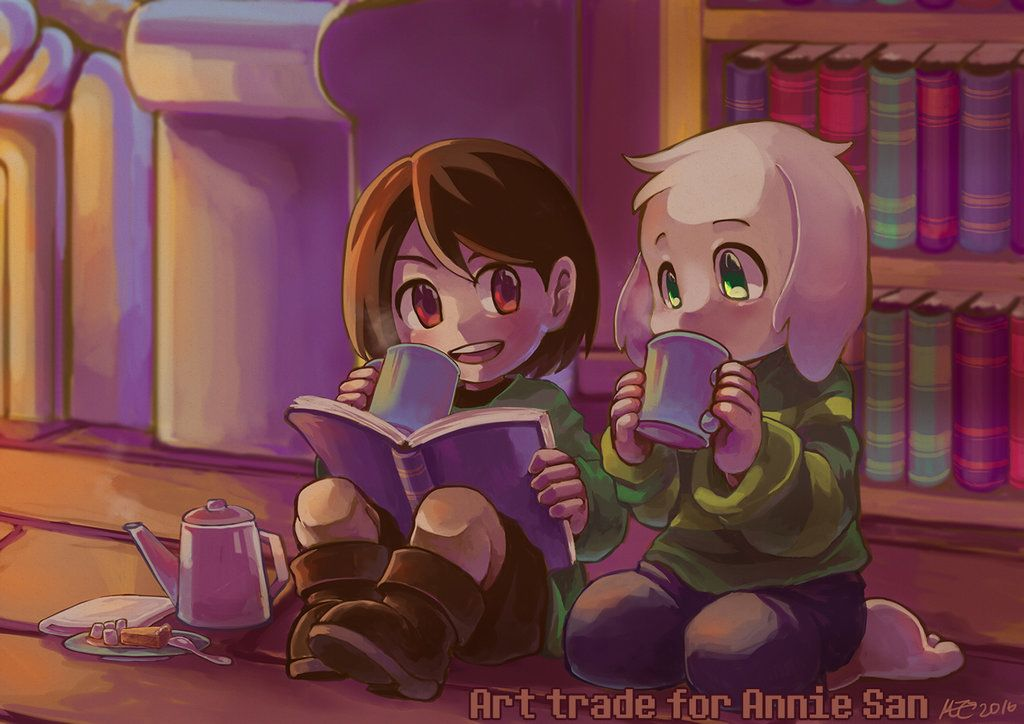 Art trade: Chara and Asriel by MZ15 on DeviantArt