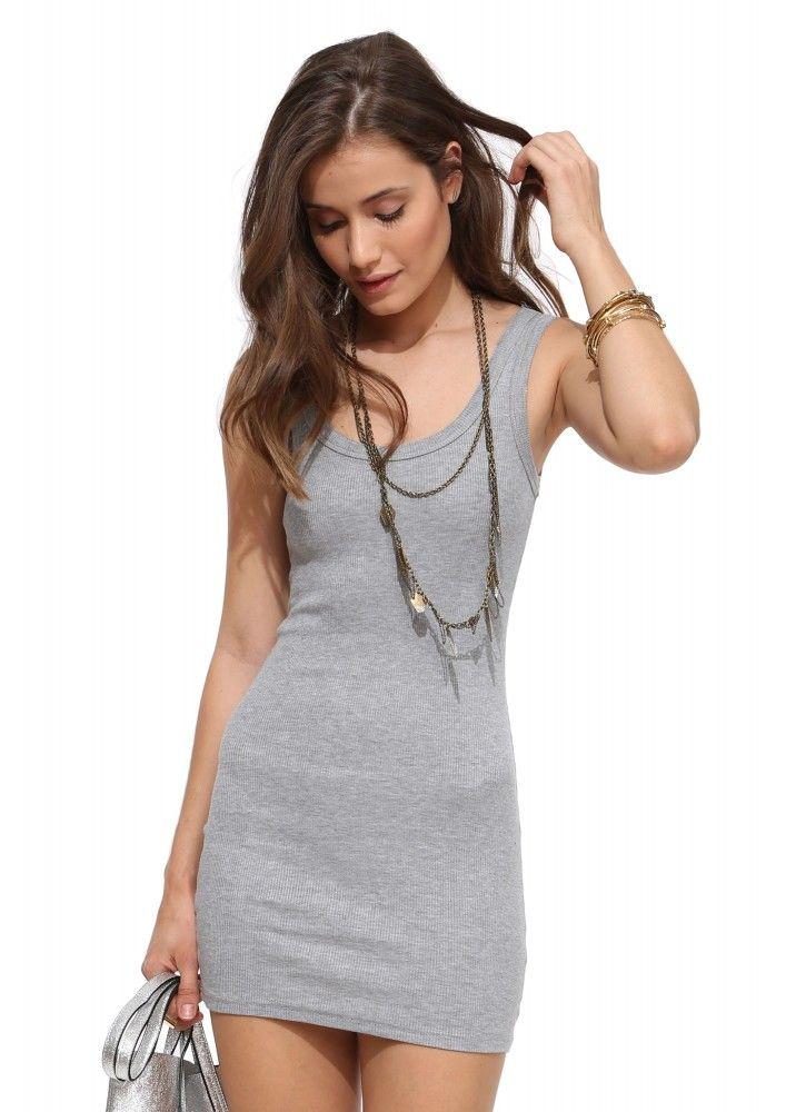 Mini Ribbed Beater Dress in Grey | Necessary Clothing