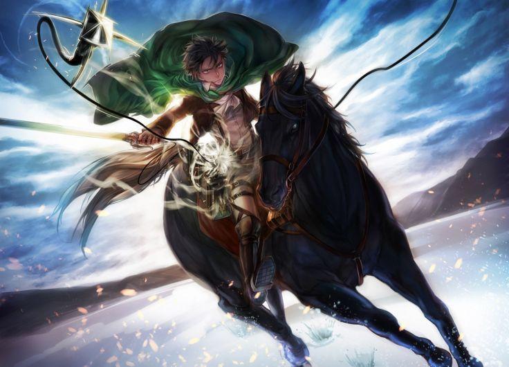 male animal black hair boots cape dgray horse male rivaille shingeki no kyojin short hair sword uniform weapon