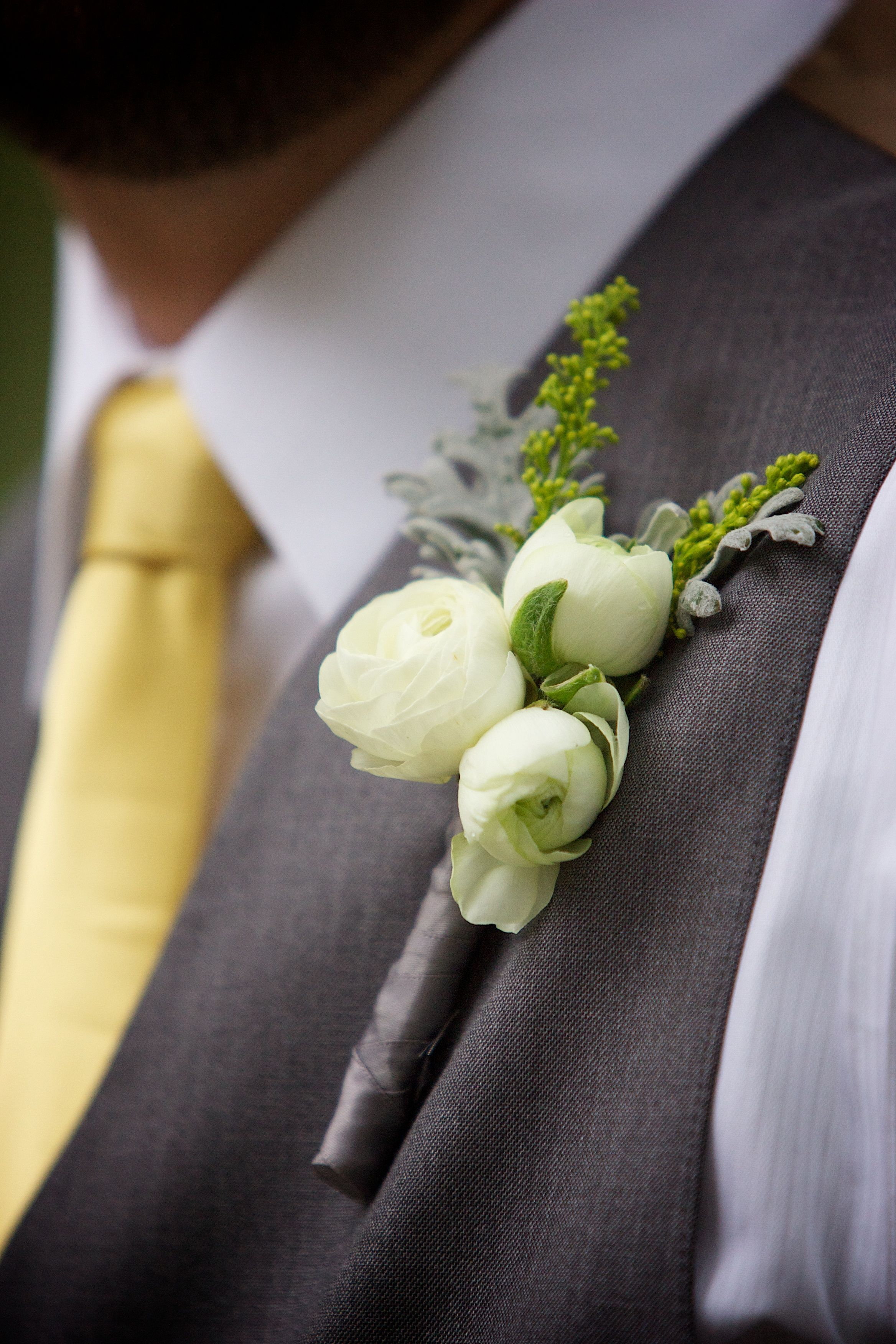 Jessica & Mike Wedding @GardensAtWestGreen #real #wedding #spring #green #yellow #gray #garden #boutonniere  Photography by Winfield Little